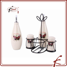 hot sale ceramic salt pepper oil vinegar set with rack
