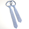 Fashion Chambray Blue Cotton Zipper Kids Tie