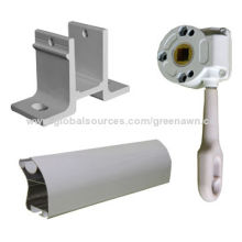 Retractable awning parts with gear box mechanism