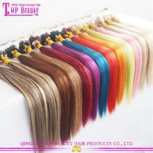 Top qualité brésilienne vierge humaine en gros micro liens extension de cheveux pas cher micro anneau extension de cheveux