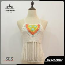 Señoras Sexy Halter Neck Fringe Multicolored Handmade Beachwear