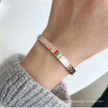 Stainless Steel Gold Plating 3mm 5mm Width Luxury Wristband Bangle Wedding Female Jewelry Cuff Bracelets for Women