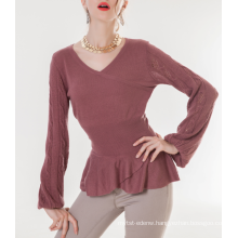 17PKCS207 2017 knit wool cashmere knitted lady sweater