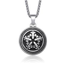 Moda jóias rodada colar de pingente de aço inoxidável 316L