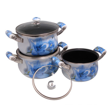 Eco-Friendly Enamel Cookware Set Sauce Pan with Selectable Lid