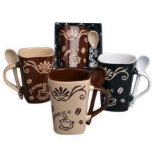 3-color Coffee Ceramic Mug and Spoon Set, Graceful PVC Gift Box Packaging