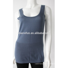 summer wear sleeveless 14gg knitted women pure cashmere tops
