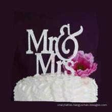 Wedding Party Cake Metal Inserts Baking Decoration Ornaments Letter Mr&Mrs Diamond Cake Inserts
