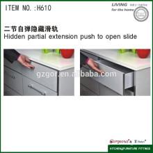 Paradas de deslizamento de gaveta escondida de duas seções