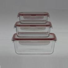 Recipiente para alimentos de vidro Borosilicato S / 3 Retângulo