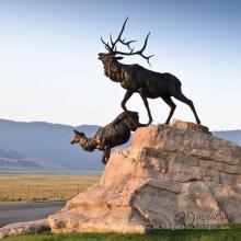 decoración al aire libre de alta calidad de la escultura del alce de bronce