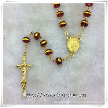 Red Glass Golden Edge Beads Rosary, Religious Rosary Beads, Rosaries (IO-cr388)