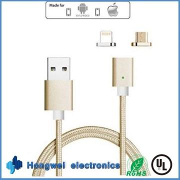 2 In1 Micro и 8-контактное магнитное зарядное устройство USB-кабель для Anfroid / iPhone ISO
