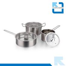 Alta qualidade 304 aço inoxidável leite / panela de sopa e conjunto de pote