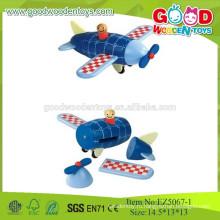 2015 Новые синие деревянные игрушки для детей Деревянный самолет