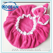 microfiber lovely bow lace edge dryer hair hat
