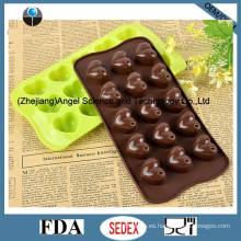 Molde 15-cavidad del chocolate del silicón del corazón Molde Sc42 del hielo del silicón
