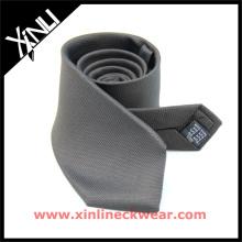 Cravate entière de soie d'usine de vente dans la cravate grise d'usine de Dropship de conception solide