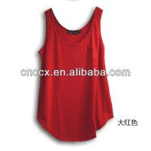 T-shirt casual pura e simples de senhora 13TS5041 para o verão fresco