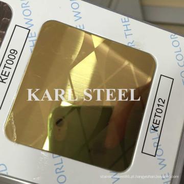 Folha de aço inoxidável do espelho dourado 410