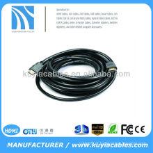 Ouro chapeado 5m 1.4v cabo HDMI macho 19pin masculino