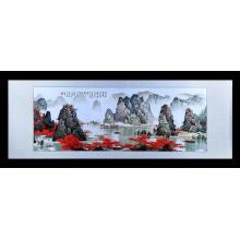Pintura de paisagem bordada mão
