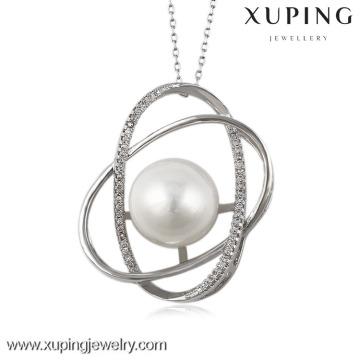 32119 bijoux xuping bijoux en perles de rhodium plaqué rhodium zircone cubique diamant ovale poire