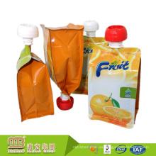 La impresión por encargo del huecograbado se levanta el zumo de naranja cura la bolsa recargable de la bebida del canalizable con la boca