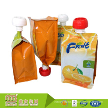Custom Made Gravure Printing Stand Up Orange Juice Heal Sealable Spout Refillable Drink Pouch With Nozzle