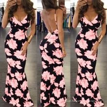 Moda feminina Respirável pescoço cinta de espaguete floral sexy profundo v verão vestidos longos