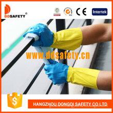 Bicolor Latex Neoprene Flock Liner Diamond Grip Straight Cuff Household Working Gloves (DHL214)