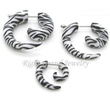 UV Acrylic Zebra Logo Pattern Fake Piercing Ear Spiral