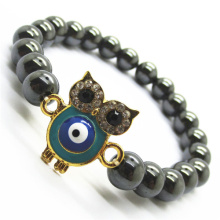 Pulsera Hematite 8MM Round Beads Stretch Gemstone con Diamante alloy Owl Piece