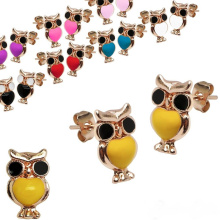 Recién llegado Pink Owl Gold Earring Studs Pendientes de moda Designs New Model Earrings