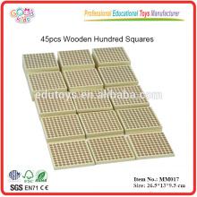 Montessori Material Spielzeug 45 Stück Holzblöcke mit Hundred Dot