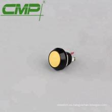 Interruptor de botón de aluminio momentáneo negro de metal de 12 mm