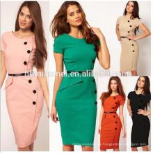 Las señoras al por mayor elegante vestido de oficina lápiz mujeres stich vestido de gasa vestido de desgaste de oficina de las mujeres