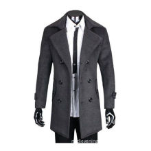 Long Sleeve Winter Outerwear , Grey Wool Hunting Jacket With Comfortable Fabric For Man