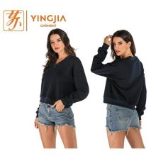 Модная женская толстовка с длинным рукавом и V-образным вырезом