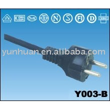 Straight european power connector with VDE cable, 2P+T RIGHT ANGLE MALE europe power cord