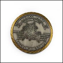 Moneda de bronce antiguo plateado, moneda de la organización (GZHY-JZ-008)