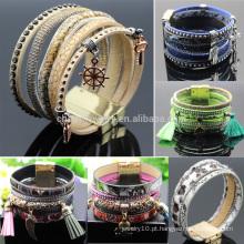 Moda de Verão Jóias pulseira de couro com fecho Magnet BCR045