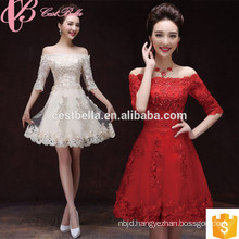 Newest Style Off Shoulder Knee Length Lace Crystal Applique Mother Of The Bride Dress With Sleeves