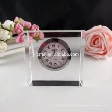 Pequeno relógio de mesa de cristal claro para presente de negócios e decoração