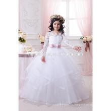 La última moda vestido de niña de flor del vestido de boda del bebé blanco atado en precio barato al por mayor