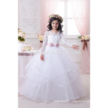 Latest fashion white laced baby girl wedding dress flower girl dress in cheap price wholesale