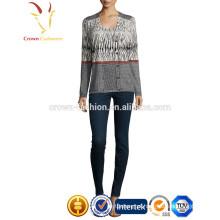 Mulheres impressão design sem mangas de malha camisola de lã colete