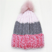 2020 Wholesale Winter Knit Hat Beanie Hats with lining and pompom superior handfeeling