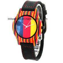 2017 heißer Verkauf Damen Damen Mode Holz Armbanduhr mit Lederband