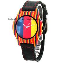 2017 горячая Распродажа Женская дамы мода деревянные наручные часы с Кожаный ремешок